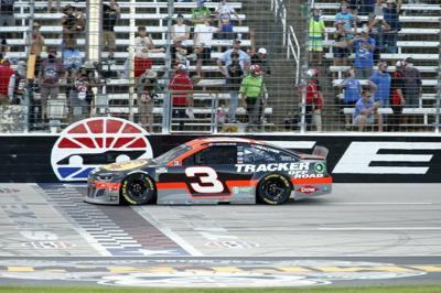 Austin Dillon crosses the finish line to win the NASCAR Cup Series auto race
