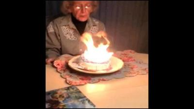 Candles Turn 100th Birthday Cake Into An Inferno