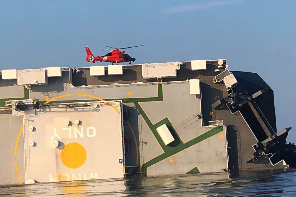 Capsized Cargo Ship with Helicopter