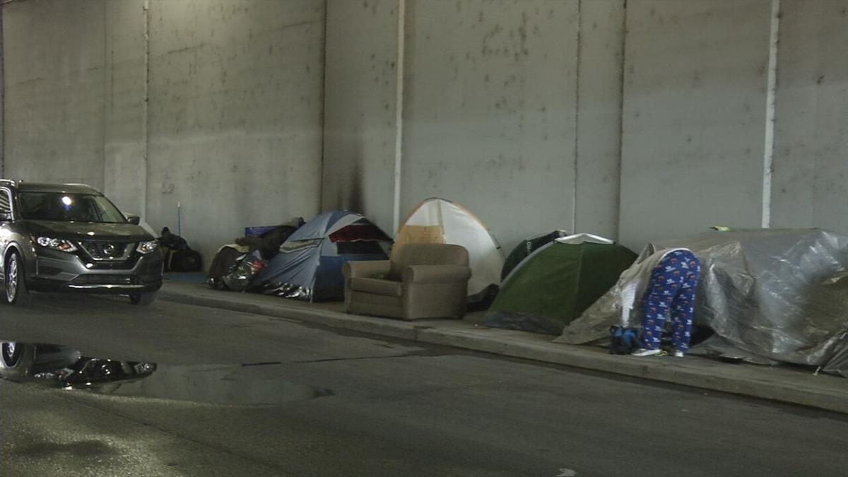 A homeless camp in downtown Louisville