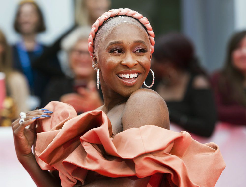 Actress Cynthia Erivo arrives on red carpet premiere Harriet