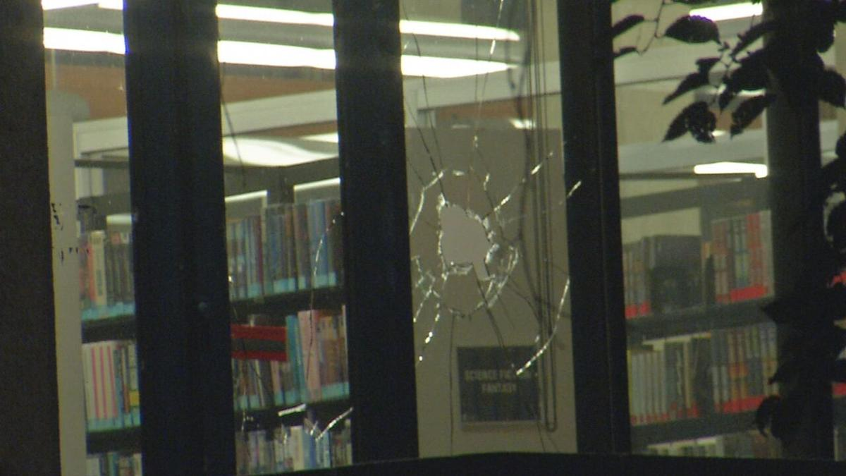 Louisville library main branch broken window, Sept. 24, 2020