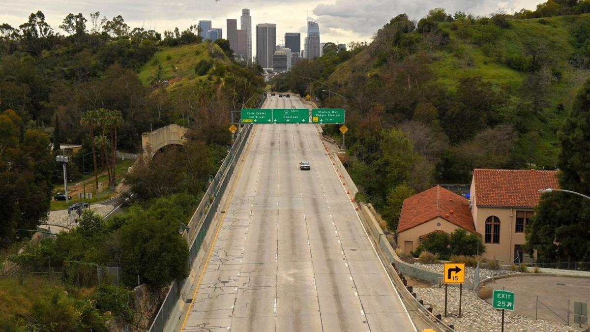 Deserted Harbor Freeway in LA