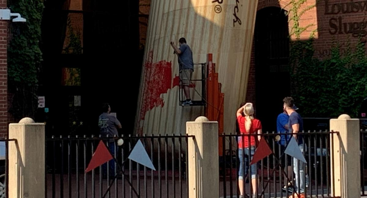Giant bat at The Louisville Slugger Museum and Factory vandalized with red paint on Sept. 7, 2020