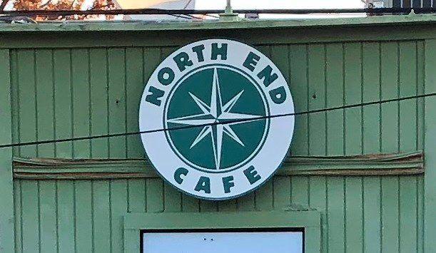 North End Cafe Sign on Building