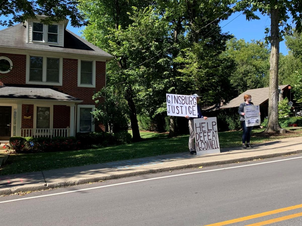 Protests outside McConnell house
