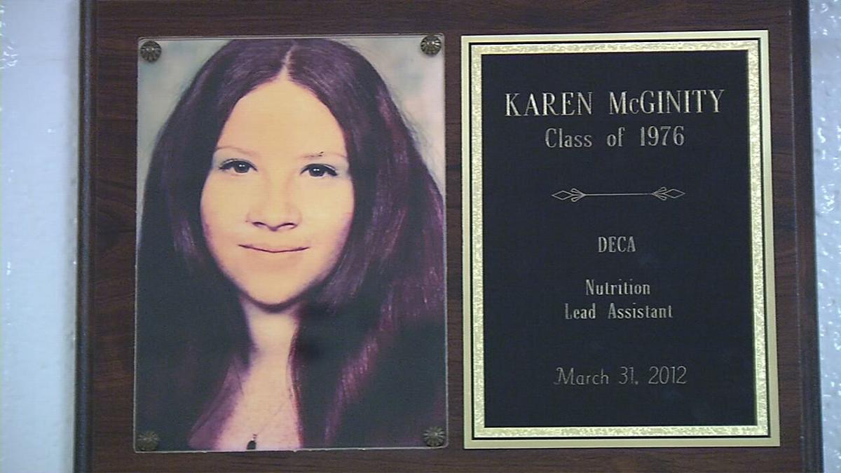Karen McGinity on Doss Hall of Fame wall