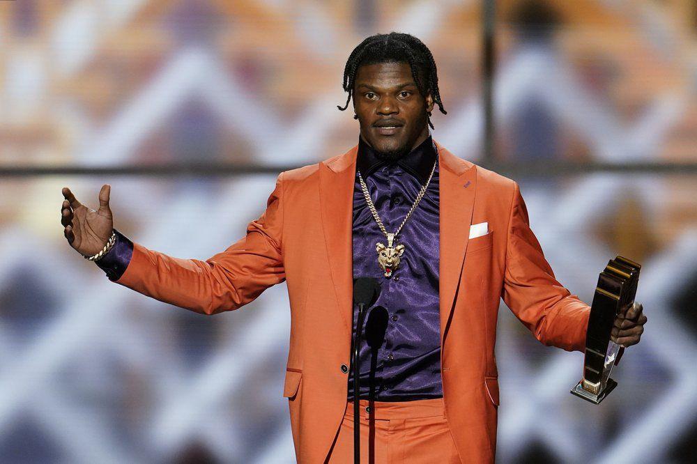 Baltimore Ravens' Lamar Jackson speaks after winning the AP Most Valuable Player award