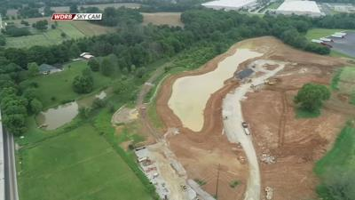 Aerial view of Chapel Lake Park construction
