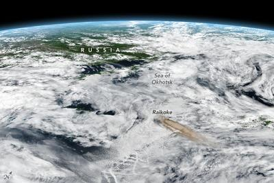 RUSSIA'S RAIKOKE Volcano Erupts...