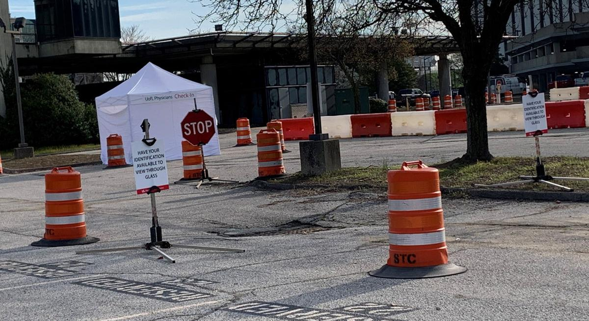 U of L Health COVID-19 downtown Louisville drive-thru testing