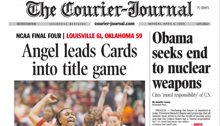 Louisville women's basketball front page