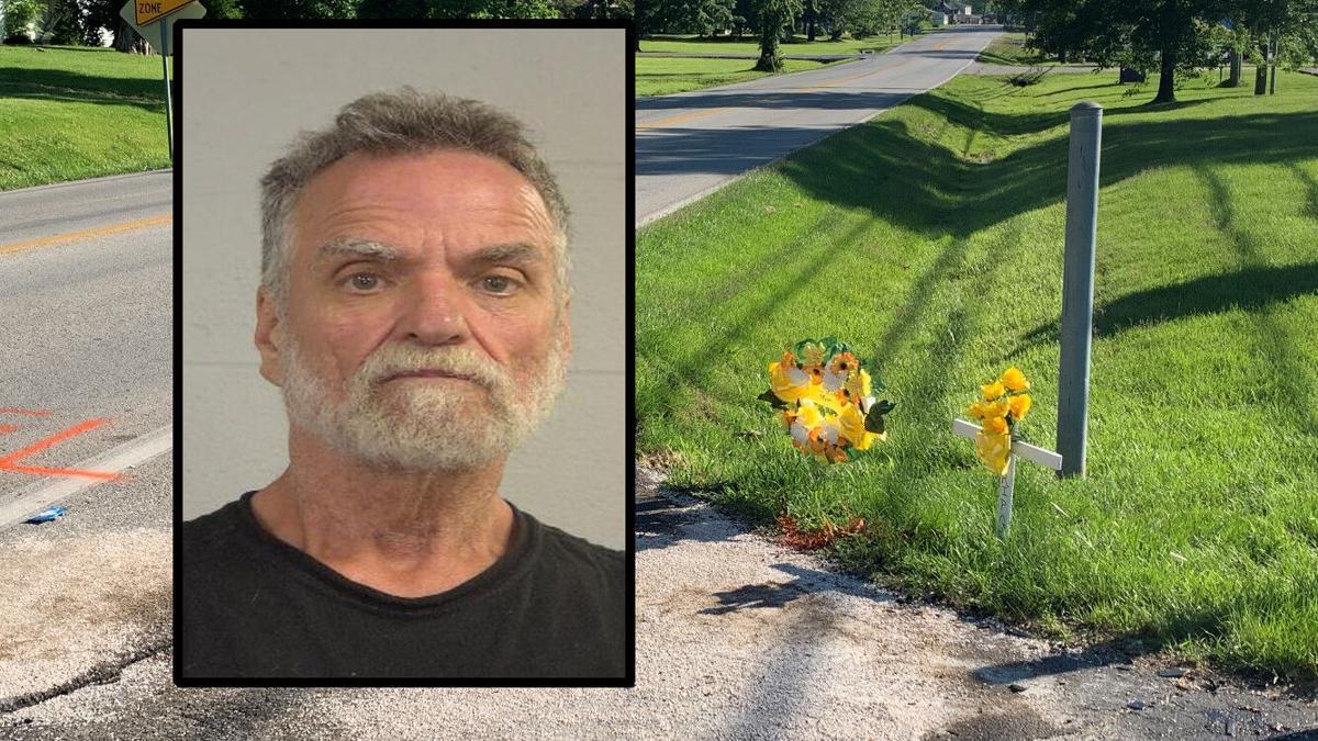 Carl Maertz mugshot against background of June 15, 2021 fatal crash scene on S. 3rd St. Rd.