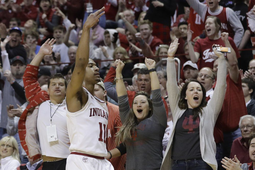 Indiana's Devonte Green (11) reacts after hitting a 3-point shot