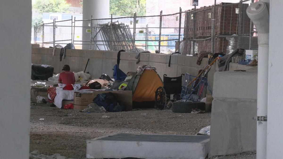 Homeless camp in Louisville, 2021