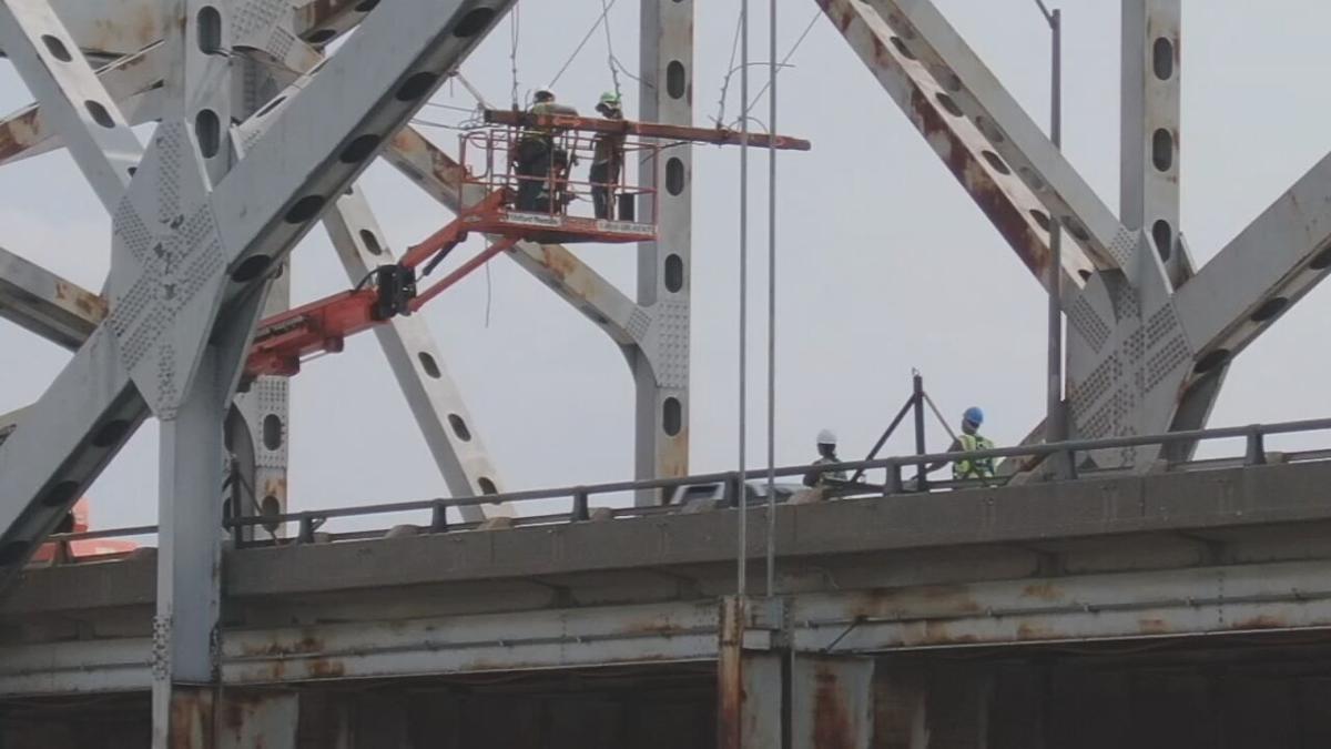 Crews work on Sherman Minton Bridge