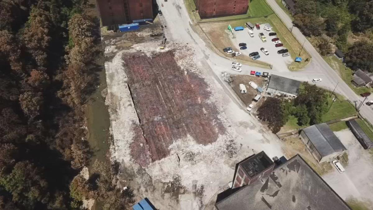 Aerial image of Jim Beam bourbon warehouse fire aftermath (June 5, 2019)