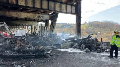 The Brent Spence Bridge damaged after fire