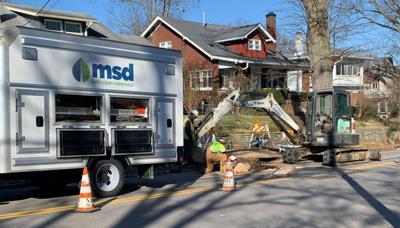 MSD repairs at cave-in on Hillcrest Avenue 2-13-19