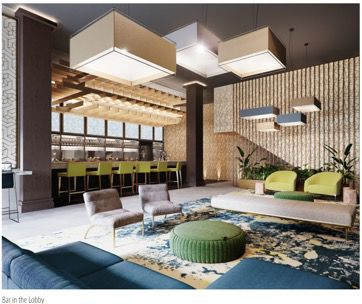 A rendering inside Hotel Indigo