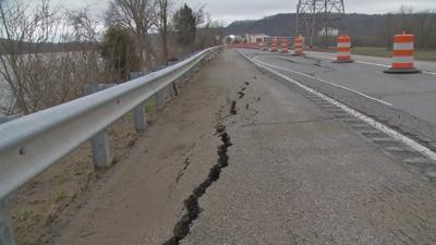 Now that Ohio River has receded, Highway 111 begins cracking near Horseshoe Southern Indiana