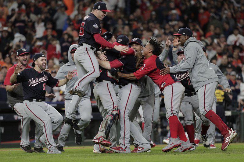 The Washington Nationals celebrate