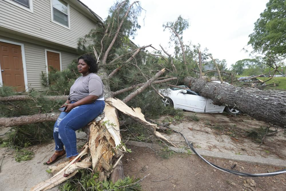 Woman sits on downed tree in Mississippi