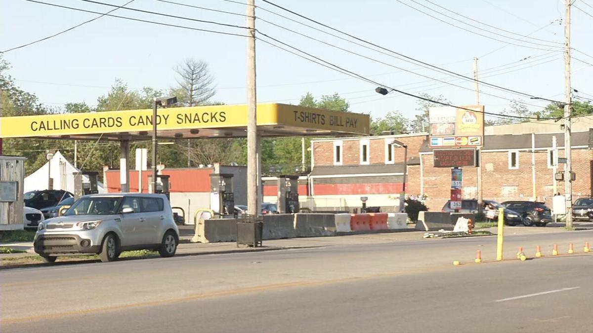 Barriers around Dino's-West Louisville-Derby weekend.jpeg