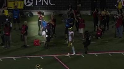 Ouch! Louisville Ladybird Liz Scott in national spotlight after Notre Dame pass breaks her nose