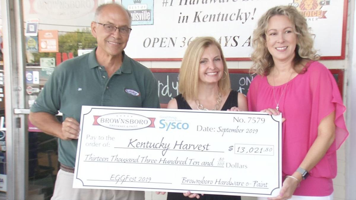 Brownsboro Hardware & Paint makes $13,000 EGGFest donation to Kentucky Harvest (Sept. 2019)