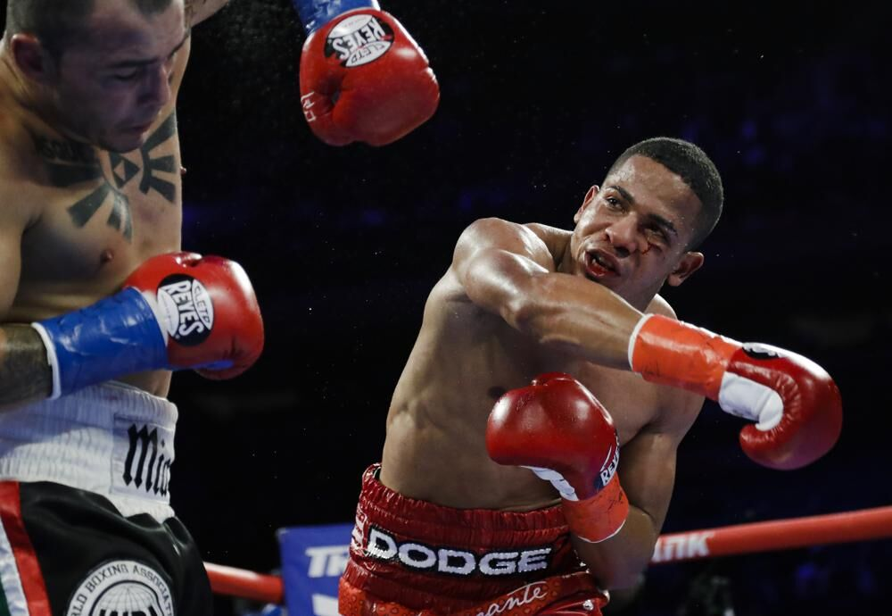 Felix Verdejo throws punch during match