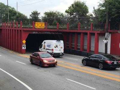 The 'can opener' viaduct on Third Street near Winkler Avenue