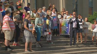 Louisville LGBTQ advocates rally against Supreme Court's decision in favor of Denver baker