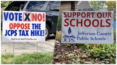 JCPS tax hike dueling yard signs 3