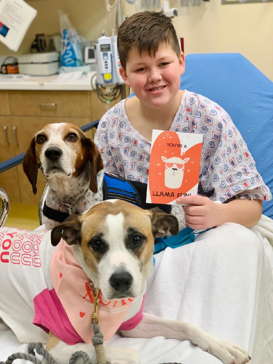 Patient at Norton Children's Hospital receives Valentine's Day cards on Feb. 14, 2020