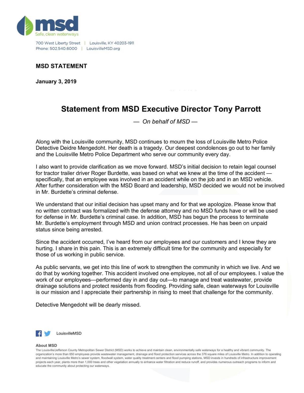 Statement from MSD Exec. Dir. Tony Parrott