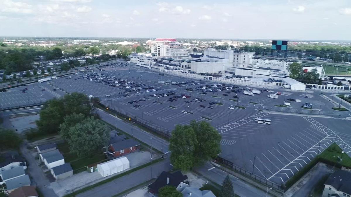 Churchill Downs parking lot drone shot