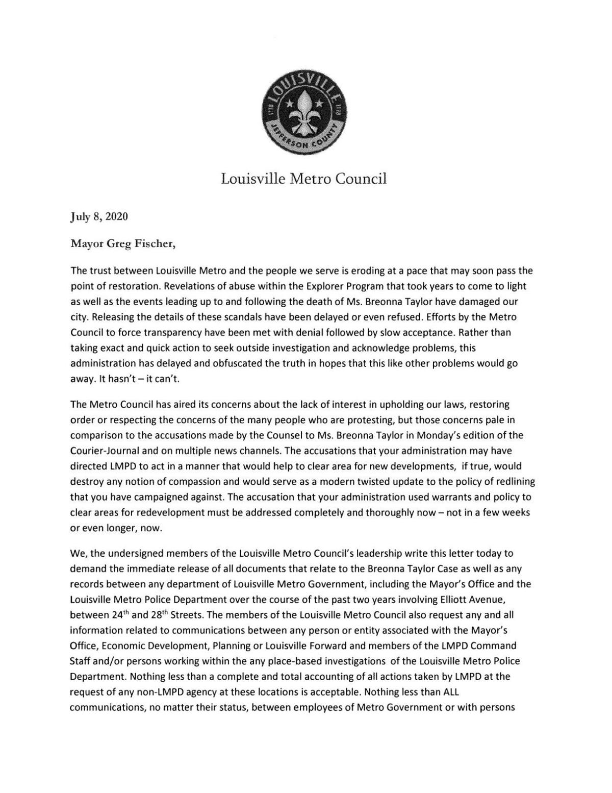 Metro Council letter to Mayor Fischer about transparency