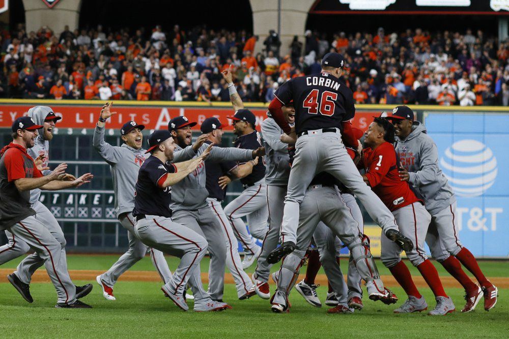 The Washington Nationals celebrate after Game 7 of the baseball World Series