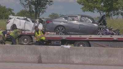 The scene of a fatal car crash near Lexington, Ky.