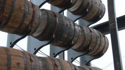 Bourbon barrels on display at Log Still Distillery