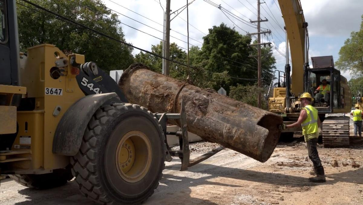 Crews unearth 1877 pipe