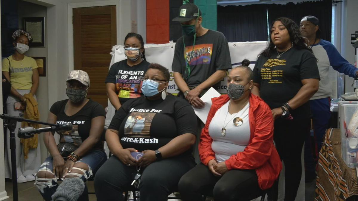 Family members of Torre Foree are joined by members of the the Kentucky Alliance against Racist and Political Repression for a news conference