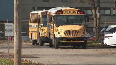 JCPS buses at Waller-Williams Environmental School