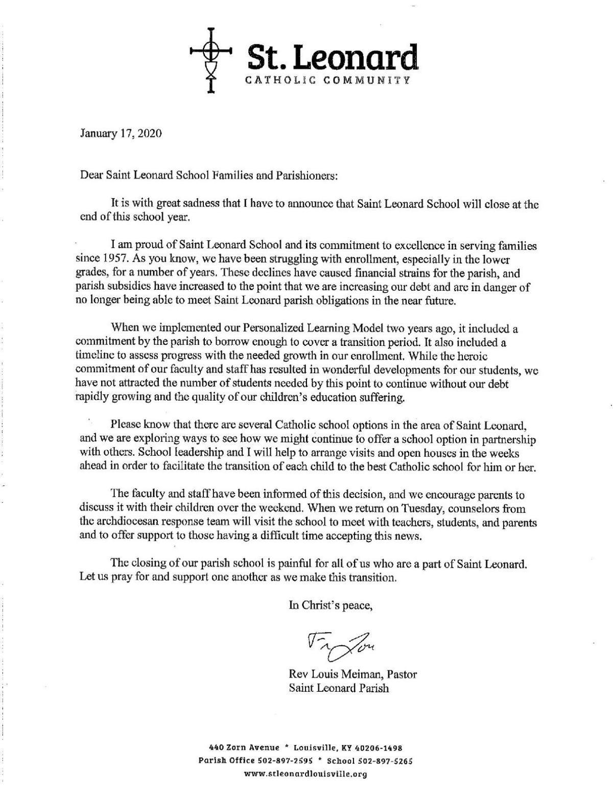 Letter to parents St. Leonard Parish School