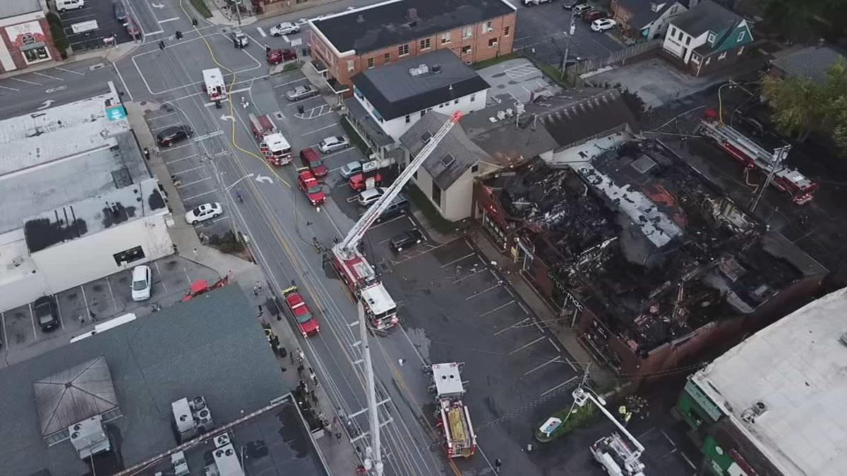 St. Matthews strip mall fire aerial - 6-17-19