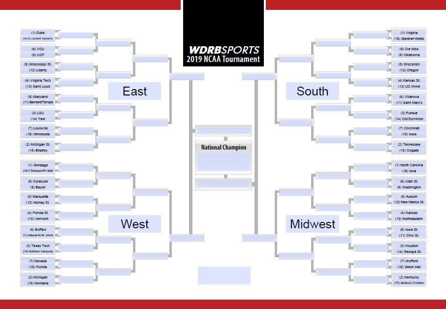 graphic about Printable Ncaa Bracket With Times and Channels titled PRINTABLE BRACKET Deliver your NCAA Event options listed here