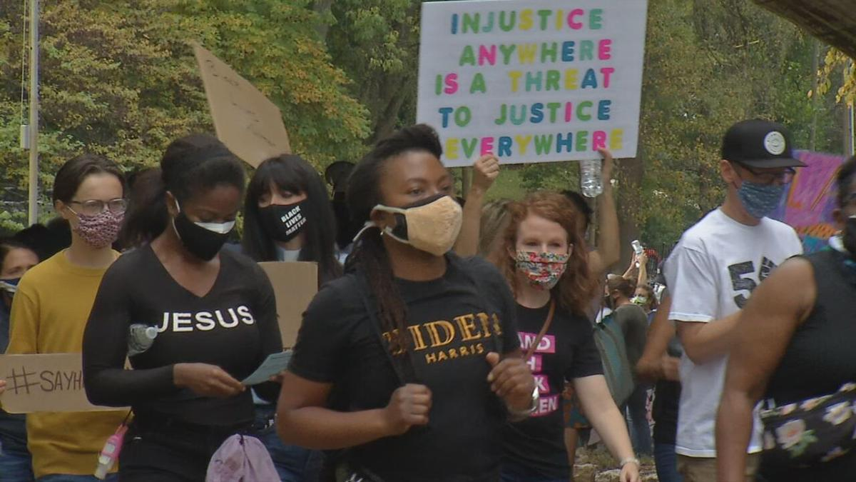 People march from Tyler Park to downtown Louisville 10-10-20