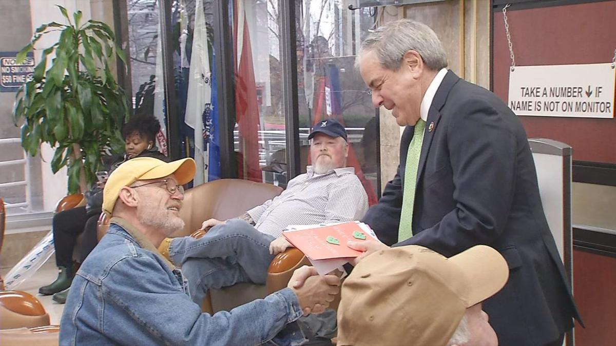 Yarmuth Shakes Hands with Vets while delivering Valentines