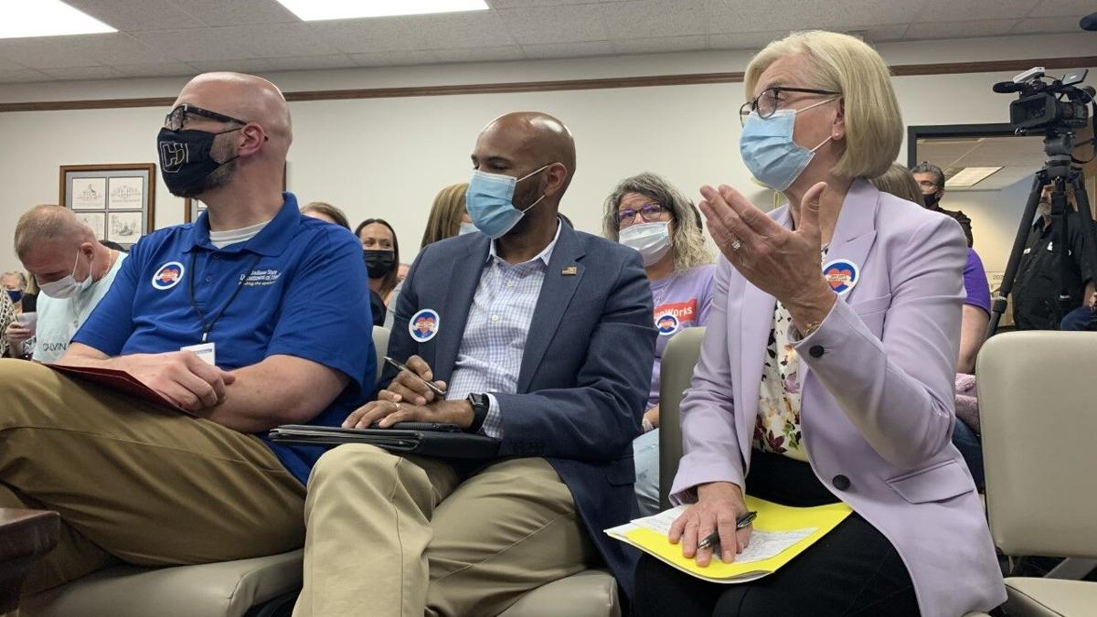 Indiana State Health Commissioner Dr. Kristina Box and Dr. Jerome Adams